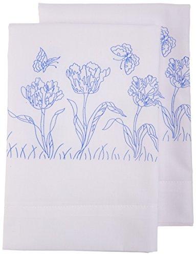 Janlynn Stamped Cross Stitch Kit, Tulip Garden Pillowcase Pair