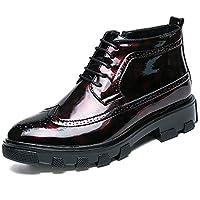 Lingqiqi Bota de Hombre Zapatos Oxford de Cuero de Charol Oxford de Moda Individual con Cremallera Resistente a la oxidación Invierno (Color : Rojo, tamaño : 41 EU)