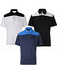 3 Pack Woodworm Golf Panel Polo Shirts – Mens