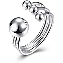 Ilove EU bola de plata de ley 925anillo de plata perla Perlas Ajustable Tamaño Boda alianzas Polished abierto Mujer
