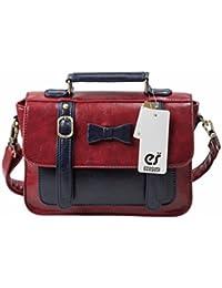 Ecosusi Faux Leather Vintage Small Messenger Purse School Satchel Bag Red/Black