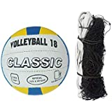 GYRONAX Classic Volleyball Combo with Nylon Net Black, (Pack of 1)