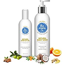 The Moms Co Dry Skin Combo Pack with Body Wash, 200ml and Stretch Oil, 100ml