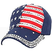 Familizo Cappello da Baseball per la Bandiera Americana delle Donne 8550b0755930