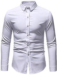 BUSIM Men's Long Sleeved Shirt Autumn Winter Fashion Casual Retro Dark Print Trend Personality T-Shirt Top Slim... - B07H9BS2GQ