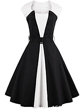Louis Rouse mujeres vestido vintage Belted patchwork
