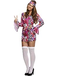 WOMENS HIPPIE HIPPY WOODSTOCK COSTUME 60s 70s FLOWER PSYCHEDELIC FANCY DRESS