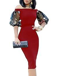 MYWY Abito donna vestito elegante spalle scoperte maniche corte velate  dettaglio floreale tubino midi a679988961c