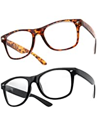 PIPEL® Lot de 2 Paires de Lunettes Monture style Wayfarer Geek Retro Vintage 80's - Monture Noir + Ecaille marron - Verre Neutre Transparent - Fashion - Tendance