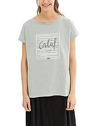 edc by ESPRIT Damen T-Shirt 047cc1k002, Grau (Light Grey 040)