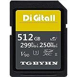 Tarjeta de memoria SD de alta rendimiento, 512 GB SDXC, tarjeta UHS-II, C10, velocidad de hasta 250 MB/S y 299 MB/S, ideal pa