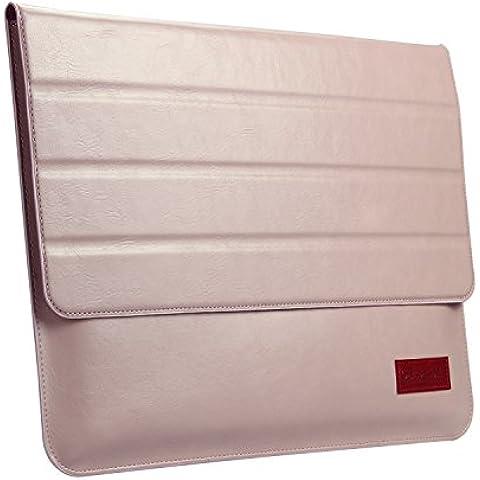 Oats® Custodia - Apple MacBook Air 33,8 cm (13 Pollici) Case Bumper Caso Sleeve in vera pelle - in Pink Rosa - Rosa Magnete Nastro Rosa