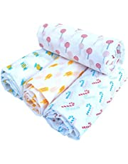 Rio New Born Baby 100% Pure Soft Cotton Swaddle Wrap, Breathable Fabric, 92cm X 114 cm, (Pack of 4)