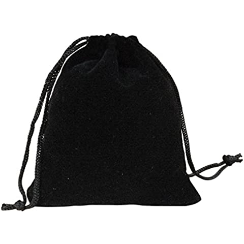 Gosear-Bolsas de joyería de lazo de terciopelo Regalo bolsas de bolsillos,10pcs Negro