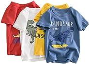 Camiseta para Niños Pack de 4 T-Shirt Manga Corta Dinosaurio de Dibujos Animados Impresión Algodón Tops Trajes