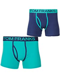 Men's Tom Franks Keyhole Cotton Stretch 2 Pack Boxer Trunks Shorts Underwear Size
