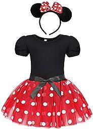 Jurebecia Vestido de Lunares + Mini Mouse Ears Diadema para niñas Princesa Bowknot Tutu Fiesta de cumpleaños T