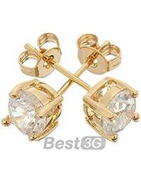 6mm Pendientes Piercing Pincho Oro 18K Cobre + Diamante CZ Moda