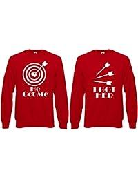 He Got Me I Got Her Aim Heart Bullseye Arrow Funny Couples Matching Jumper Sweater Pullover Top