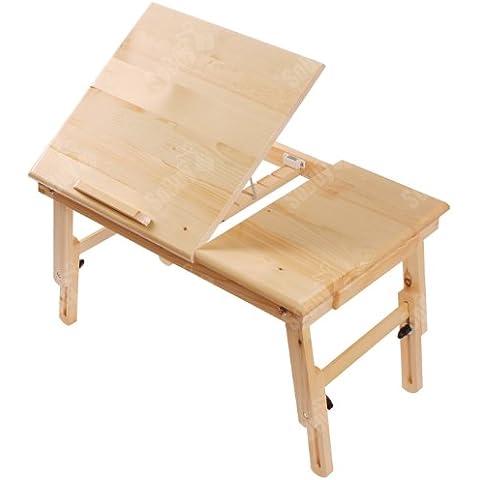 SoBuy® Mesita de cama, mesa para el ordenador portátil, mesa plegable de madera, FBT02-N