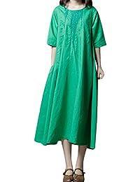 LuckyGirls Vestido Largo Vintage Suelto de Mangas Medias Bordado Color Puro Moda Casual Playa Faldas de Las Mujeres Maxi Vestido de…