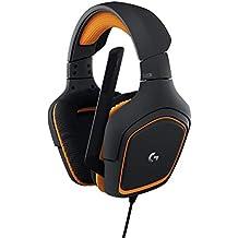 Logitech G231 Cuffie da Gioco Prodigy Stereo con Microfono per PC, Xbox One e PS4, Nero/Arancione