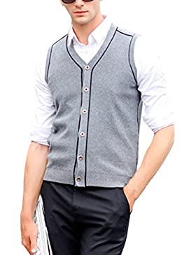 Zhhlinyuan alta calidad Mens Men's Middle-aged V-neck Slim Comfortable Winter Sleeveless Wool Pullover Knitted...