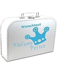 """Kinderkoffer Pappe weiß mit Krone """"Kleiner Prinz"""" und Wunschname, Malkoffer Spielzeugkoffer Spielkoffer Pappkoffer"""