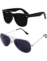 MaFs Classic Black Aviator Dark Matt Wayfarer Combo Pack Boys Sunglasses (DSC_072|Black,Blue)