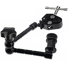 Fomito Braccio magico regolabile, 27,94 cm, con super morsetto a granchio, pinza per fotocamera DSLR e monitor LED