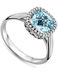 Miore Damen-Ring 750 Weißgold Blau Topas umrahmt von Brillanten 0.08ct MMT006RM
