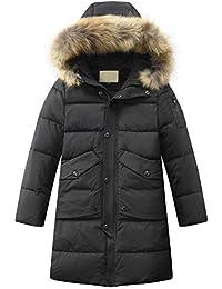 Mallimoda Jungen Winterjacke mit Kapuze Kinder Daunenjacken Lange Mantel Parka Outerwear