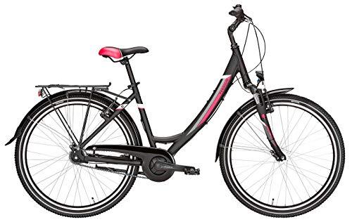 Damen Citybike 26 Zoll schwarz - Pegasus Avanti Fahrrad - Shimano Nabenschaltung, Rücktrittbremse, StVZO Beleuchtung