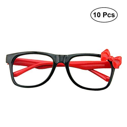 BESTOYARD 10 stücke Kind Kunststoff Gläser Universal Brillengestell Keine Linsen mit Bogen für Kostüm Party Supplies (Zufällig)