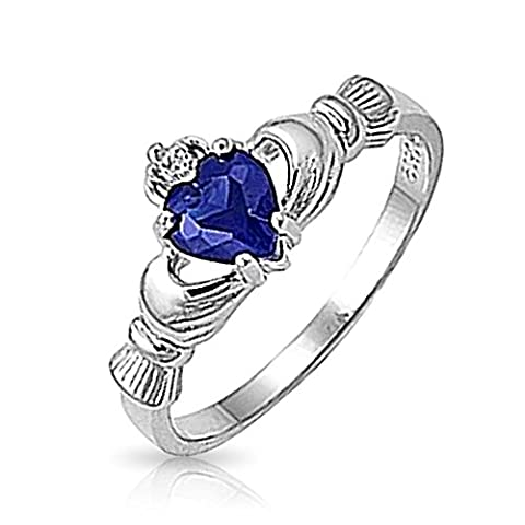 Bling Jewelry Argent Sterling couleur saphir coeur Claddagh Ring