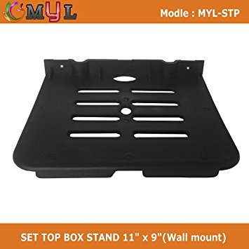 Generic Plastic Set Top box Stand for DTH, Dish TV, Telephone (Standard Size, Black)