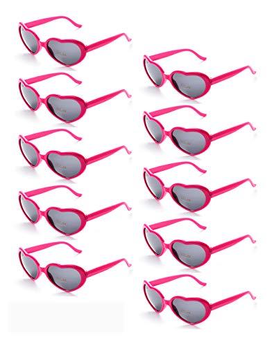 Onnea 10 Stücke Herz Förmige Party Favorisiert Sonnenbrillen UV400 Schutz für Kinder Nur (10 Hot pink)