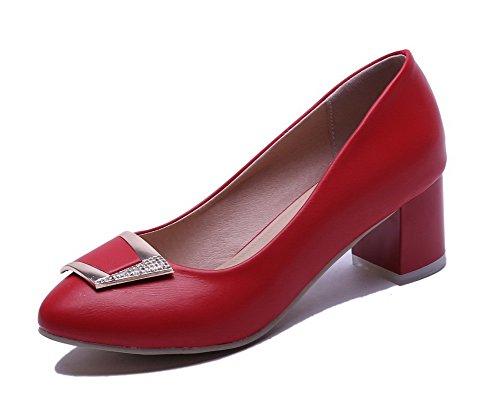 VogueZone009 Femme à Talon Correct Couleur Unie Tire Matière Souple Rond Chaussures Légeres Rouge
