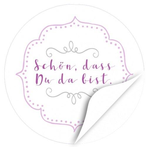 48 Sticker / 2 x 24 schöne Etiketten / modern / Schön, dass Du da bist (rosa) / Runde Aufkleber für Tischdeko, Geschenke, Mitgebsel, Goodie Bags, Gast, Gäste, Freunde