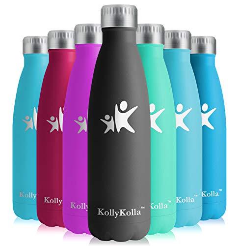KollyKolla Vakuum Isolierte Edelstahl Trinkflasche, 650ml BPA Frei Wasserflasche Auslaufsicher, Thermosflasche für Kinder, Schule, Mädchen, Sport, Outdoor, Fahrrad, Büro, Fitness (Voll Schwarz)