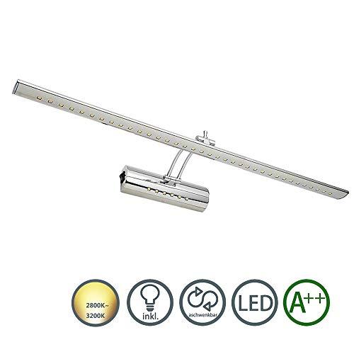 HENGDA LED Spiegelleuchte Spiegellampe Mit Schalter Edelstahl Schrankleuchte 180° einstellbar Bad Wandleuchte für Möbel Spiegel und Bad (19W Warmweiß)