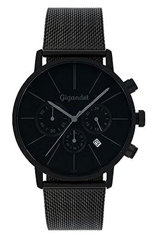 Gigandet Quarz Herren-Armbanduhr Minimalism Chronograph Uhr Datum Analog Herrenuhr mit Edelstahlarmband Herren Uhren Schwarz G32-008
