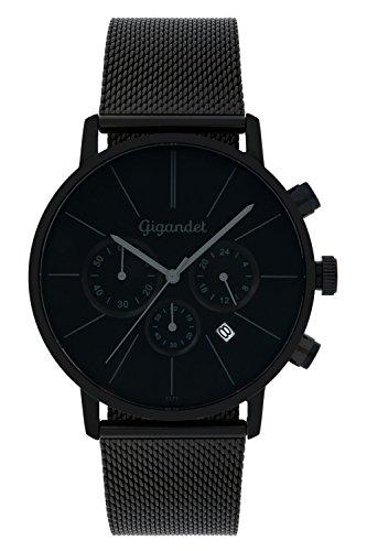 Gigandet Quarz Herren-Armbanduhr Minimalism Chronograph Uhr Datum Analog Edelstahlarmband Schwarz G32-008