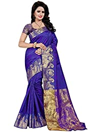 SATYAM WEAVES WOMEN'S ETHNIC WEAR COTTON SILK SAREE WITH BLOUSE PIECE. (MUBARAKAAN) (PURPLE)