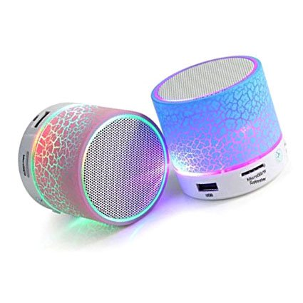 LG G5 Compatible Rechargeable Bluetooth Speaker WITH LED Wireless Audio Receiver Outdoor, Home Theatre Portable USB MP3 Player Stereo Surround Loud Mini Radio Bluetooth Speaker Speakers with Light Support TF Card and Aux with MIC and Phone Call Receiving Feature Support 3.5 MM audio jack + Charging Cable Assorted Color