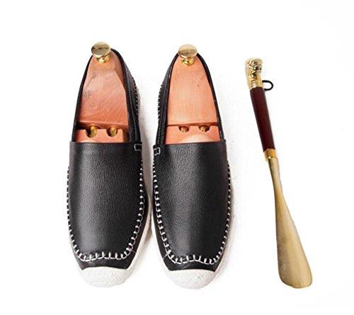 SHIXR Männer Oxford Neue Sommer Erbsen Schuhe Lazy Schuhe Ein Pedal Driving Schuhe Herren Schuhe Kopf Soft Leder Schuhe Black