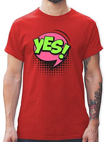 Karneval & Fasching - Popart Karneval Kostüm YES! - XXL - Rot - L190 - Herren T-Shirt ()