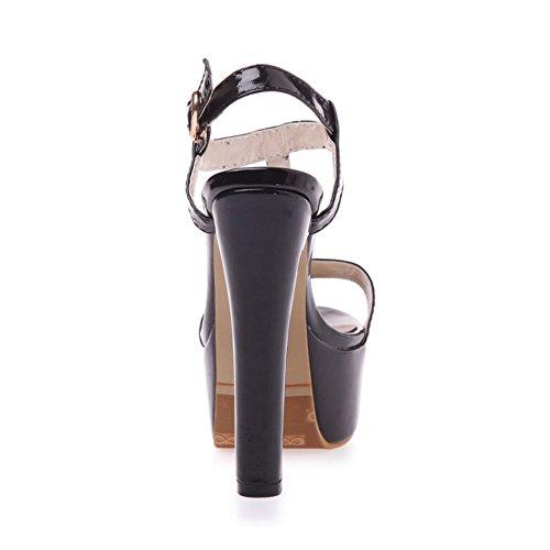 COOLCEPT Damen Mode T-Spangen Sandalen Open Toe Slingback Blockabsatz Schuhe Schwarz