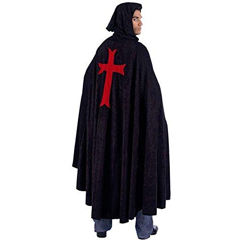 Umhang Ritter schwarz - Mittelalter Gewand Kostüm lang m Kapuze u rotem Kreuz - L
