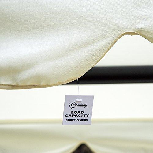 Outsunny Dondolo da Giardino Tre Posti Trasformabile in Letto con Cuscini 200 × 120 × 164cm Crema - 9